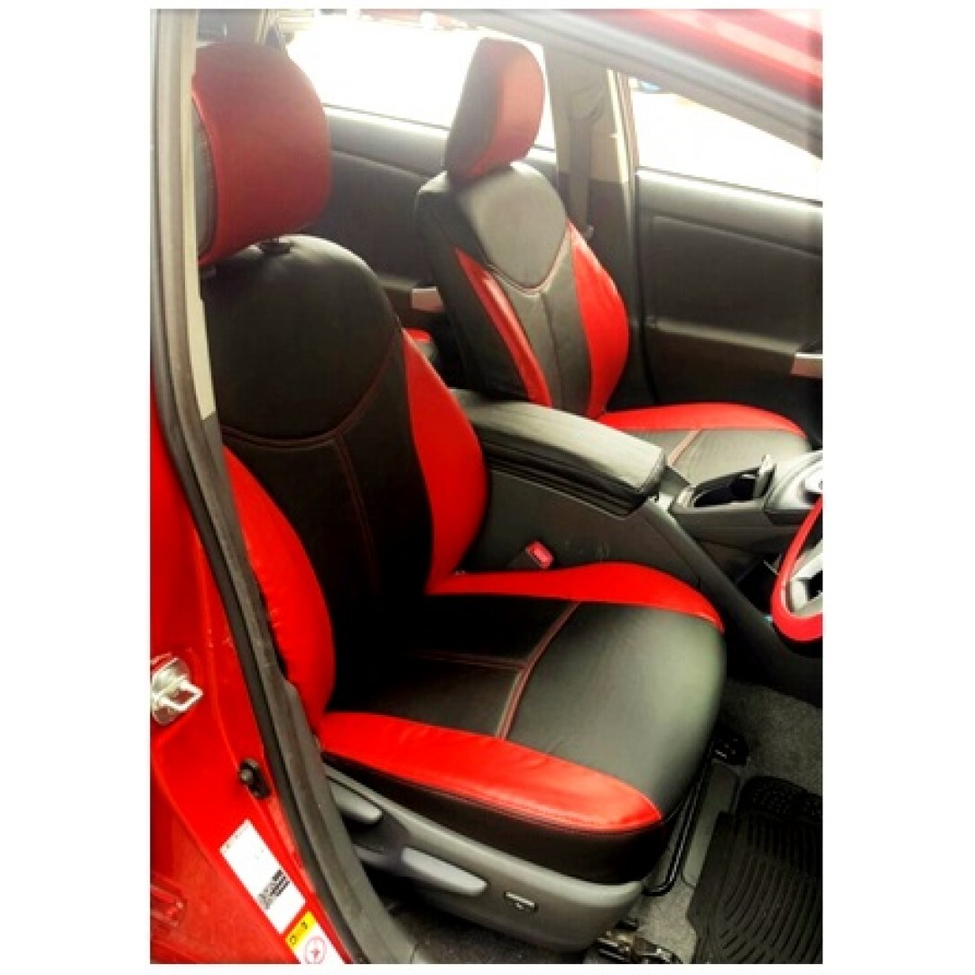 TOYOTA PRIUS 2010/15 BLACK/RED/ RED DOUBLE STITCH